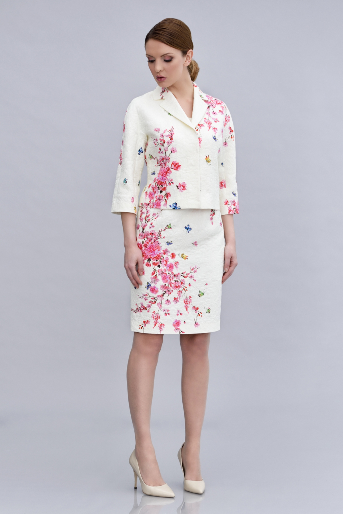 Floral print cotton and jacquard jacket