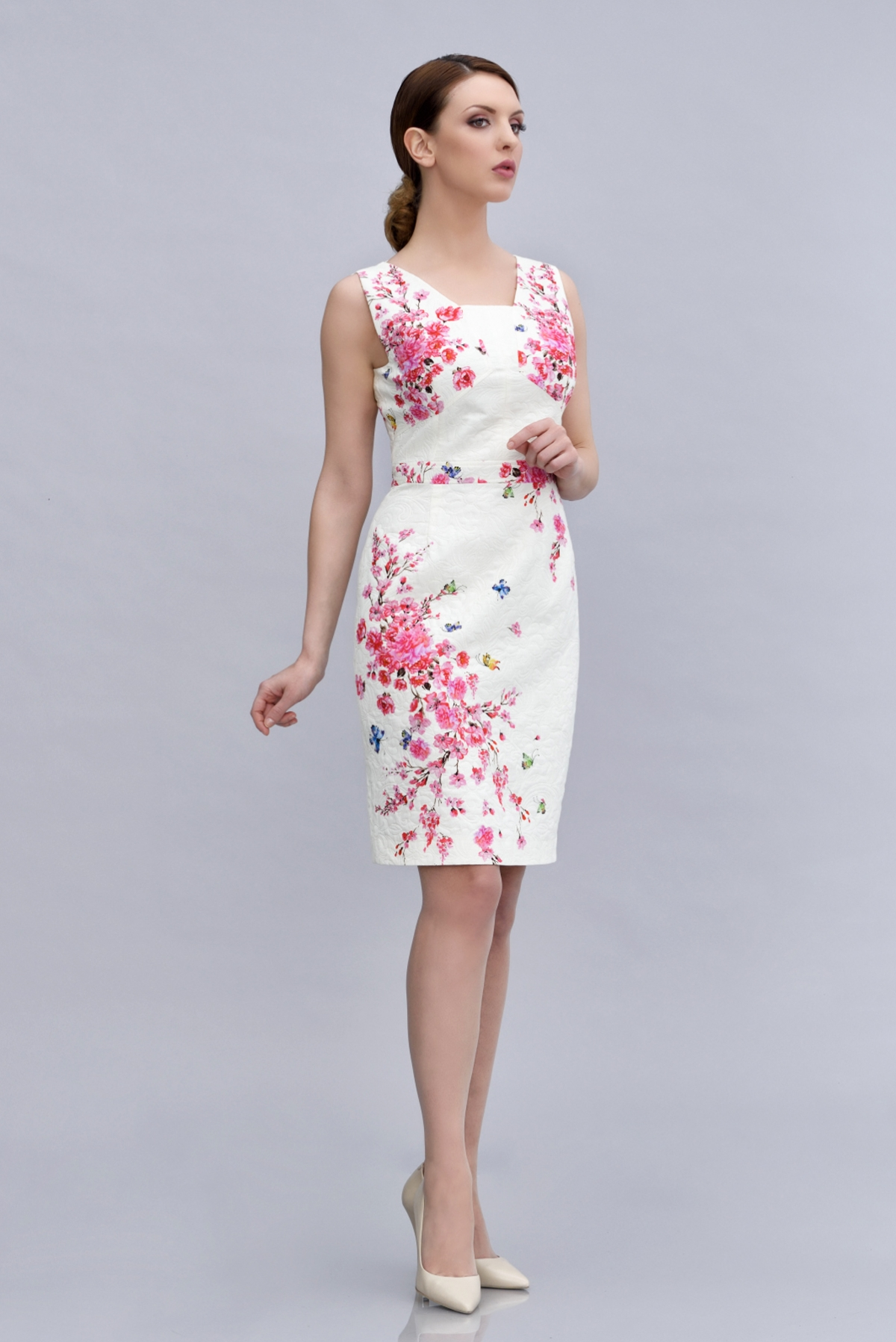 Floral print cotton and jacquard dress