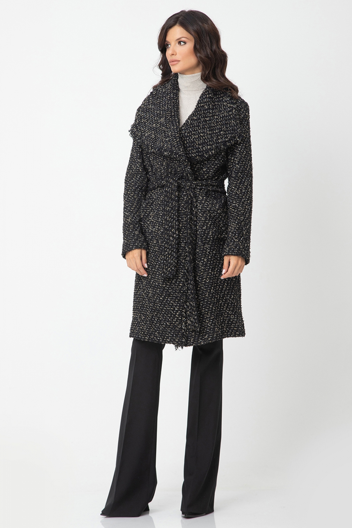 Boucle belted coat