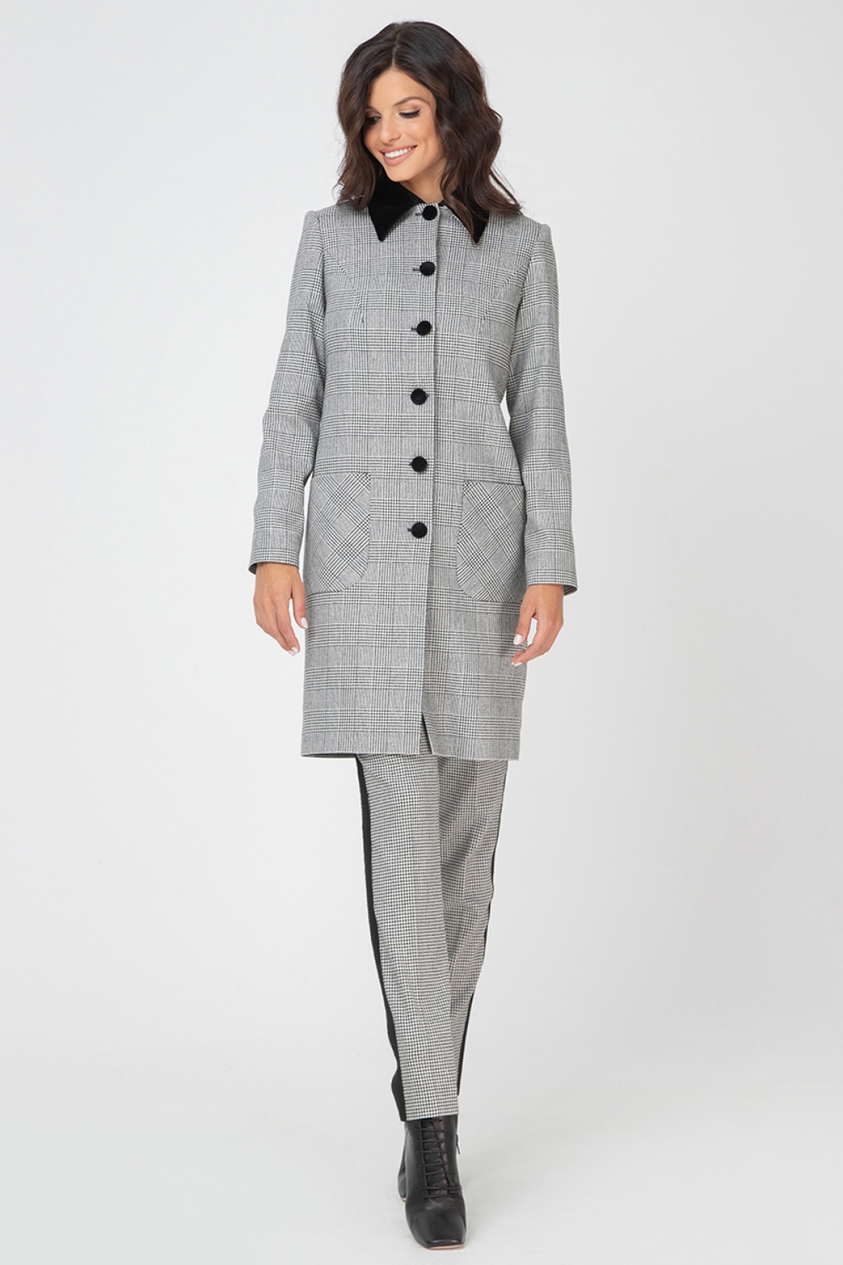 houndstooth-check coat