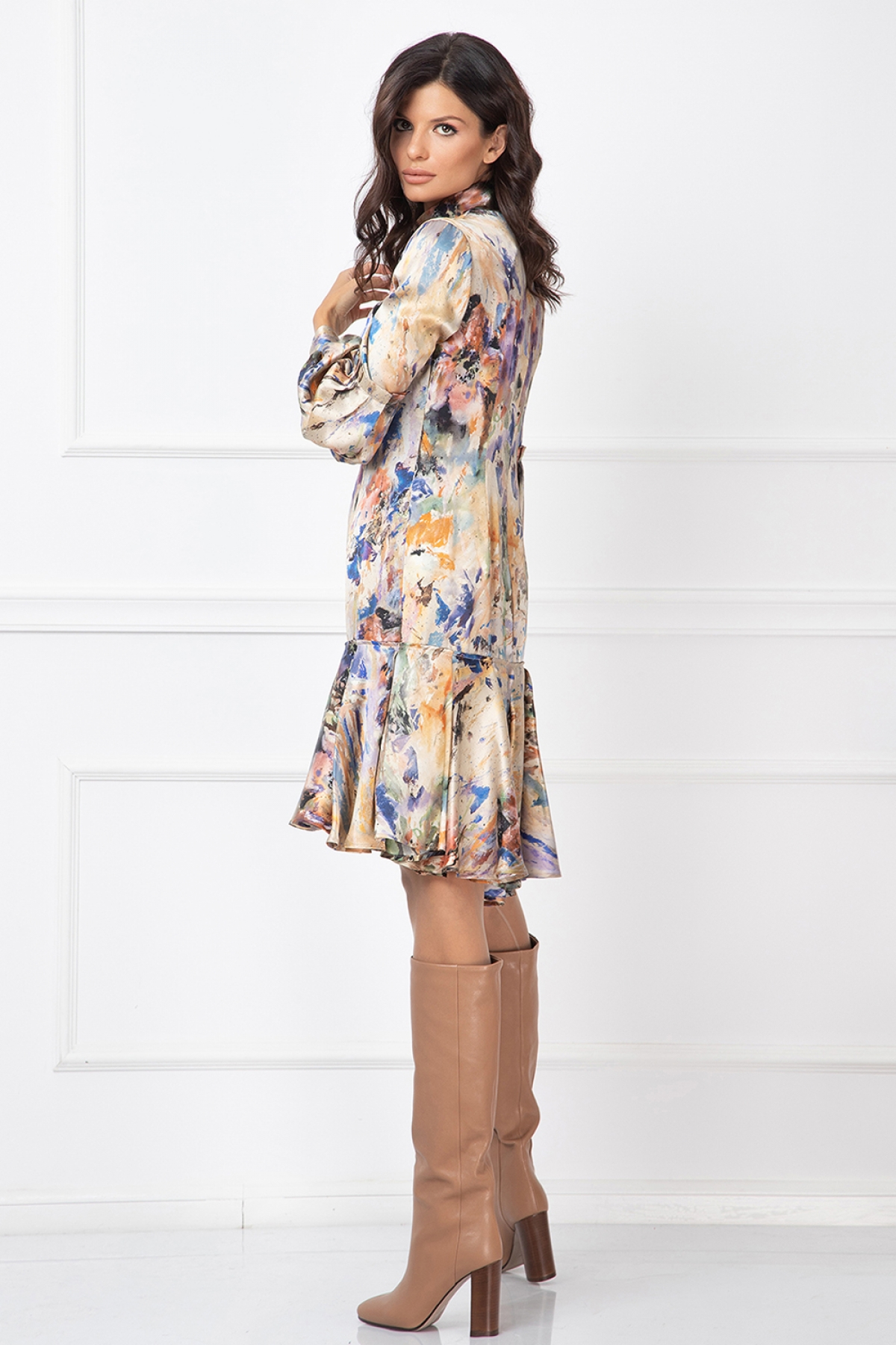 silk dress with long sleeves